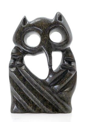 Stenen beeld uil abstract 1 dier, 17 cm hoog, zwart
