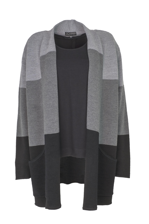 EO-design Vest lang zwart grijs lichtgrijs