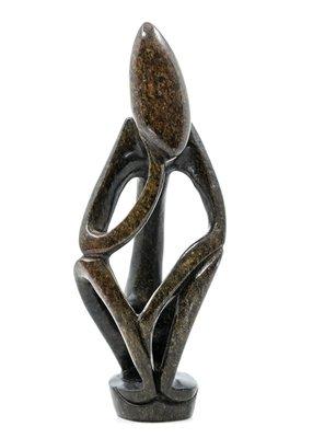 Stenen beeld denker abstract 1 denkend persoon, 20 cm hoog, groen
