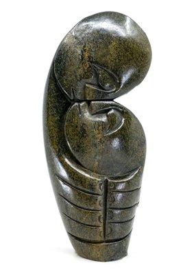 Stenen beeld kissing lover 2 personen, 23 cm hoog, groen