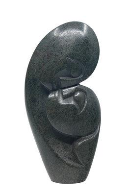 Stenen beeld kissing lover 2 personen, 18 cm hoog, groen