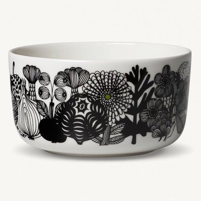 Marimekko servies Oiva kom wit/zwart/groen 100 years Finland 5 dl 068424-096