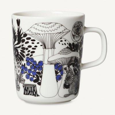 Marimekko servies Oiva beker wit/zwart/blauw 100 Years Finland 2,5 dl 068604-195