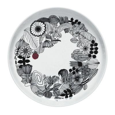 Marimekko servies Oiva bord wit/zwart/rood 32 cm 066680-194