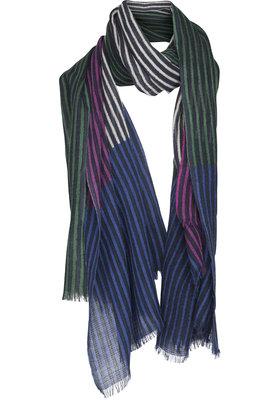 Two Danes sjaal Overprint stripes paars/donkerblauw 9017-P244-272