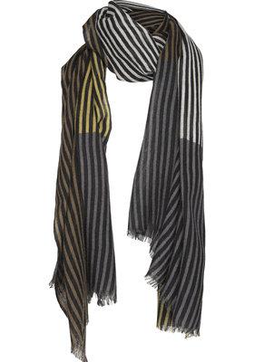 Two Danes sjaal Overprint stripes mosgroen/zwart 9017-P227-299