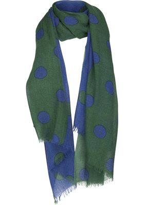 Two Danes sjaal Reversed dots blauw/groen 9016-P285-266