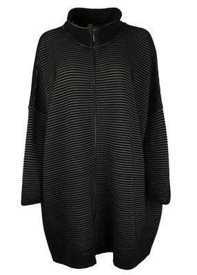 EO-design Vest lang zwart grijs