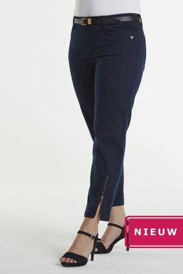 Laurie broek, model Piper Regular Cropped basis katoen blauw 22465-49200