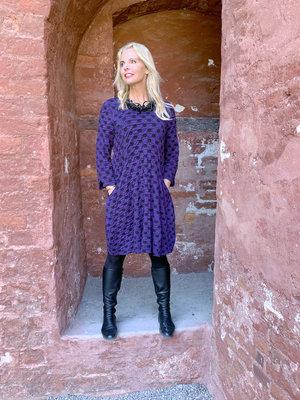 Baldino kleding jurk 3-329C paars/zwart stip
