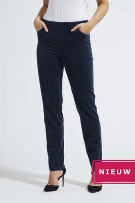 Laurie broek, model Kelly regular rib (fijn) katoen blauw 23218-49131