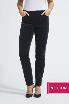 Laurie broek, model Kelly regular rib (fijn) katoen zwart 23218-99198