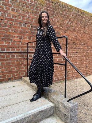 Baldino kleding lange jurk 3-399 zwart/grijs stip