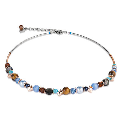 Coeur de Lion Ketting 4864/ /0711 Crystal Blue-Brown