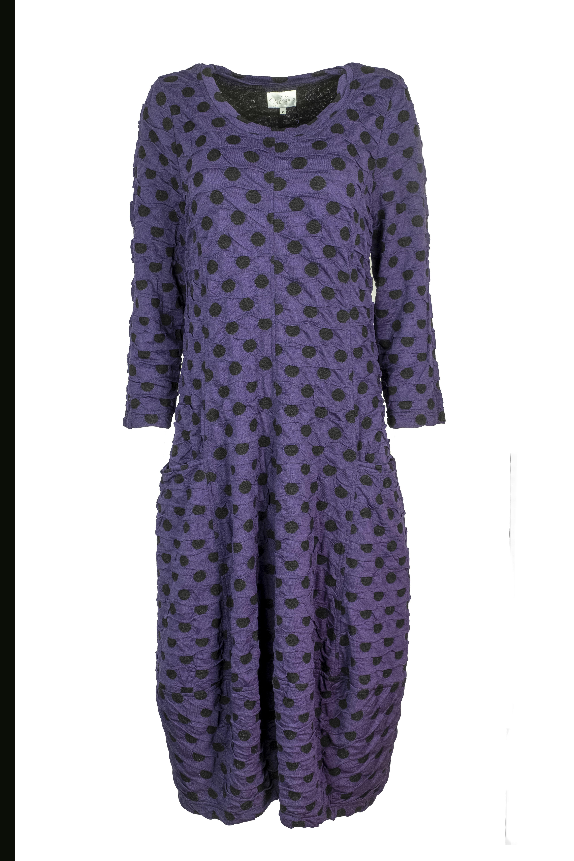 Baldino kleding lange jurk 3-399 paars/zwart stip