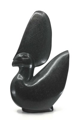 Stenen beeld uniek dier, Crown Bird, Kambue Benaya, Tengenenge
