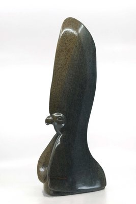 Stenen beeld uniek vogel, Big Crown Bird, Tengenenge 49 cm stenen dier