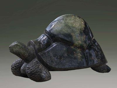 Stenen tuinbeeld schildpad uniek, Take it easy, stenen dier groen