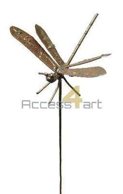 Metalen libelle op stok, metalen vogel | Birdwoods