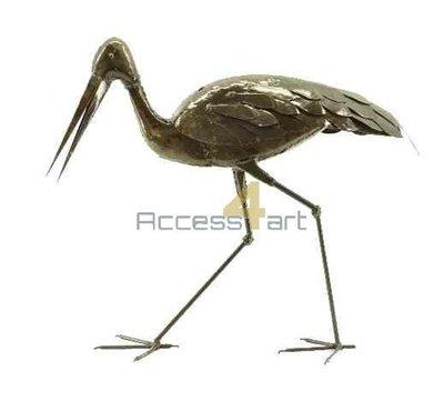 Metalen ooievaar lopend, metalen vogel | Birdwoods