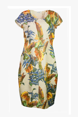 Blueberry Italia linnen jurk 9312-49 beige