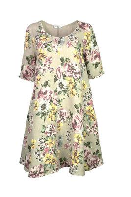 Blueberry Italia linnen jurk beige 9314-48