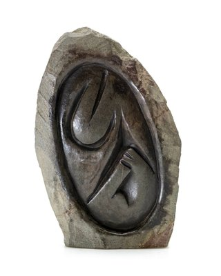 Stenen beeld embryo natural 1 persoon, 10 cm hoog, bruin
