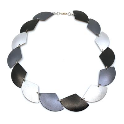 Otracosa aluminium sieraad ketting, C250 zwart antraciet zilver49 cm