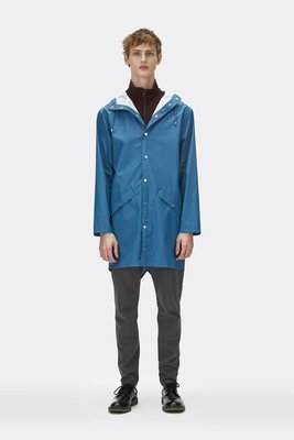 Regenjas Rains rainwear model Long Jacket man unisex kleur faded blue