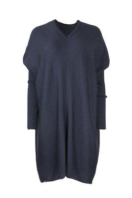 Austriandesign jurk tuniek, V-Pullover lange mouw blauw