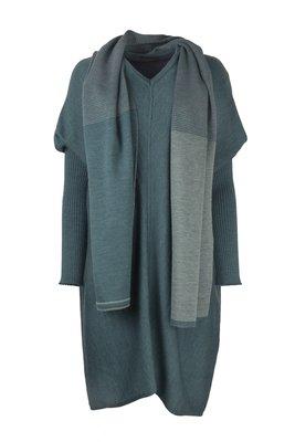 Austriandesign jurk tuniek, V-Pullover lange mouw petrol