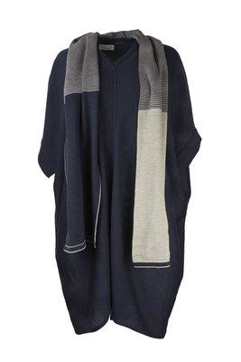 Austriandesign jurk tuniek, V-Pullover zonder mouw blauw