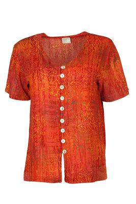 Unikat Artwear kleding blouse 130 oranje rood
