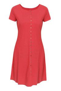 Jalfe 11858-1-406D jurk met knopen ekologisch katoen rose-oranjerood