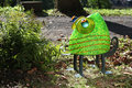 Glasstudio Borowski Chameo, Kameleon groen met oranje strepen